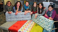 Upholstered bench DIY from HGTV's Design Happens blog