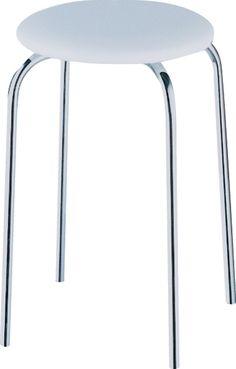 Der hochwertige Hocker Kevin ist einige Zentimeter höher und etwas schlanker als normale Hocker. Der Sitz ist gepolstert und aus weißem Kunstleder, das Gestell ist aus verchromtem Metall. Belastbar bis max. 120 kg
