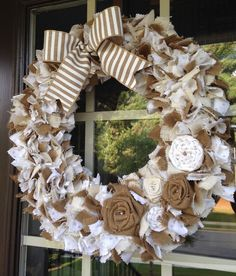 Summer Burlap and Cotton Rag Wreath by LilyWreaths on Etsy https://www.etsy.com/listing/233818359/summer-burlap-and-cotton-rag-wreath.  A personal favorite from my shop. :)