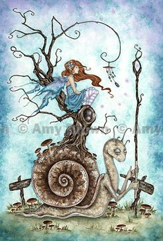 Fairy and Magic Snail 85x11 PRINT by Amy Brown by AmyBrownArt, $14.00