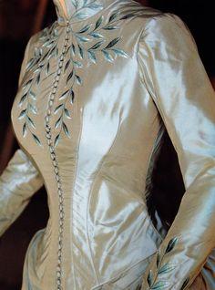 Bodice of Mina's ice blue dress. Embroidery by Penn & Fletcher