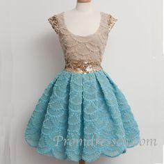 Cute vintage lace satin short prom dress