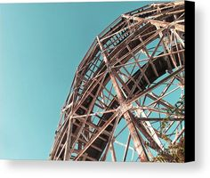 Fully Supported Canvas Print by Onedayoneimage Photography.    cyclone, rollercoaster, roller coaster, supports, architecture, historic, metal, wood, wooden, blue sky, old, landmark, weathered, supported, structure, rust, rusty, old, historic ride, historic roller coaster, brooklyn landmark, brooklyn, wood slats, carnival ride, details, engineering, New York, details, canvas art, home decor, office decor, interior design, light blue, sky blue