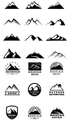 Mountains vector logo set Logo Branding, Branding Design, Logo Design, Graphic Design, Mountain Logos, Mountain Designs, Design Elements, Design Art, Ice Logo