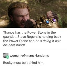 Why would Bucky be helping obviously you can tell that Captain America is welding 2 infinity stones witch is better than star load the half god Marvel Memes, Marvel Dc Comics, Bucky And Steve, Stucky, Bucky Barnes, The Villain, Steve Rogers, Avengers Infinity War, Marvel Cinematic Universe