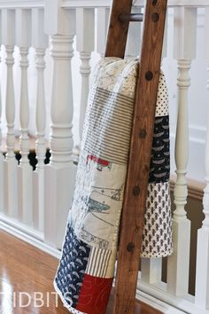 Love this ladder for displaying a quilt