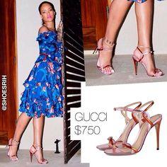 Gucci two tone (pink-orange) leather strappy sandals $750, @badgalriri