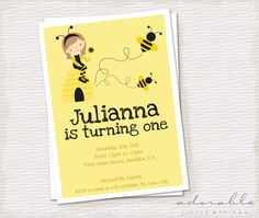 DIY bumble BEE Birthday Party Invitation. Printable B-day Card.