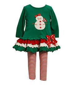 Bonnie Baby Infant Snowman-Appliqued Drop-Waist Dress & Leggings Set | Dillard's Mobile