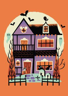 Plm haunted small Disney Halloween art with texture cute cat and pumpkin with ghosts and bats. Mickey Mouse and Minnie Mouse halloween illustration plm_haunted_small.jpg by Adam Grason Disney Halloween, Happy Halloween, Theme Halloween, Halloween Stickers, Halloween House, Halloween Cosplay, Holidays Halloween, Spooky Halloween, Vintage Halloween