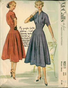 1950s dress with tucks and fitted midriff: McCall's 9211