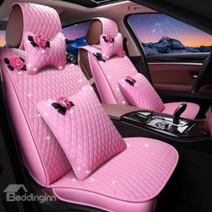 Girly beautiful pink color waterproof durable leather universal car seat cover - Flamingo, Ananas u Co -