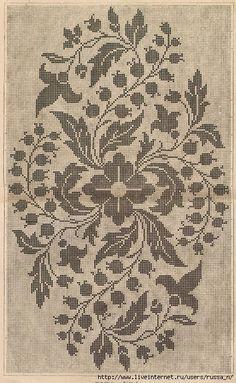 would make a neat filet crochet doily: Cross Stitch Borders, Cross Stitch Flowers, Cross Stitch Designs, Cross Stitching, Cross Stitch Embroidery, Embroidery Patterns, Cross Stitch Patterns, Filet Crochet Charts, Crochet Cross