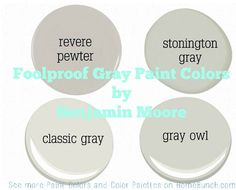 Foolproof Gray Paint Colors by Benjamin Moore. Gray Owl Paint, Grey Paint Colors, Interior Paint Colors, Paint Colors For Home, Benjamin Moore Classic Gray, Revere Pewter Benjamin Moore, Room Colors, Wall Colors, House Colors