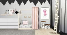 Scandinavian Toddler Room You need meshes so grab them in links :) In this set: 9 Toddler Bed (mesh by spirashhun HERE) 10 Curtain for bed (mesh by soloriya HERE) 7 Posters Big (mesh by black-le. Industrial Bedroom Furniture, Bedroom Furniture Design, Sims 4 Cc Furniture Living Rooms, Toddler Floor Bed, Toddler Rooms, Toddler Cc Sims 4, The Sims 4 Pc, Sims Cc, Muebles Sims 4 Cc