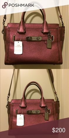 """NEW Coach Swagger 27 in Metallic Pebble leather Metallic pebble leather Inside zip, cell phone and multifunction pockets Zip-top closure, fabric lining Handles with 4 1/2"""" drop  Long strap with 19"""" drop for shoulder or crossbody wear 10 3/4"""" (L) x 7 3/4"""" (H) x 5 3/4"""" (W) Coach Bags Satchels"""