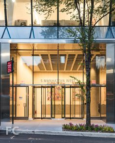 Entry. Front Elevation Designs, Office Entrance, Hudson Yards, Glass Door, The Neighbourhood, Construction, Lighting, Architecture, Building