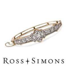 """C. 1915 Vintage Edwardian 2.75ct t.w. Diamond Bangle Bracelet. 7""""    This bracelet is almost 100 years old.  I can't stop drooling over it."""