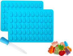 Gummy Bear Chocolate Molds and Candy Making Molds 2 Pack Plus Bonus Dropper for easy filling Make 100 Gummy Bears on Trays BPA Free, Freezer, Oven and Dishwasher safe 100% silicone (2 Pack , Blue ) >>> Check this awesome image  : Candy Making Supplies
