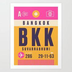 Luggage Tag A - BKK Bangkok Thailand Art Print by vectordreams - X-Small Bangkok Shopping, Bangkok Travel, Asia Travel, Singapore Travel Tips, Thailand Travel Guide, Thailand Art, Bangkok Thailand, Retro Airline, Koh Tao
