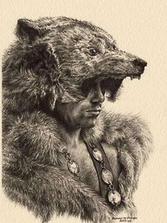 Úlfhéðnar are mentioned in Vatnsdœla saga, Haraldskvæði and the Völsunga saga. The Ulfhednar were said to wear the pelt of a wolf upon their heads when they entered battle, similar to the berserkers use of bear pelts.
