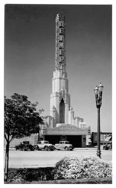 """With a soaring tower like this one, the Leimert Theater at 3341 W. 43rd Place in Leimert Park (near Culver City) must have really stood out. This photo was taken in 1933, a year after it opened, when their motto was """"Any Seat 20¢ Any Time."""""""