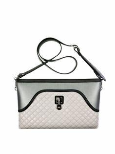 Psaníčko FLOWER BAG, kožený odepínací popruh Flower Bag, Black Leather Belt, Clutch, Silver Color, Bunt, Shoulder Bag, Zipper, Pocket, Cross Body