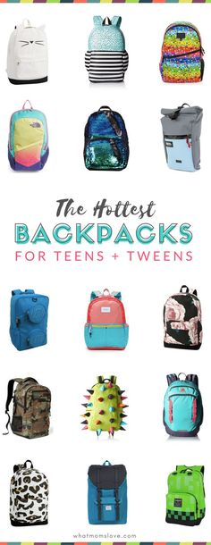 The coolest backpacks for back-to-school for grade schoolers, tweens and teens. These packs have cool styling, tons of storage and will stand out in a crowd Tween Backpacks, Best Backpacks For School, Cute Backpacks, Leather Backpacks, Leather Bags, Cool Backpacks For Girls, College Backpacks, Middle School Supplies, Middle School Boys