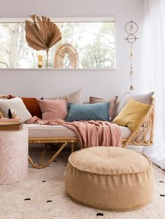 Leah Linen Look Round Ottomans & Poufs – Onyx & Smoke Interior Design Living Room, Living Room Decor, Design Interiors, Custom Cushions, Elegant Homes, Textiles, Cheap Home Decor, Home Remodeling, Daybed Bedding