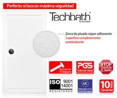 TechBath, sólo en SecuriBath. Gama de platos de ducha extraplanos y súper-antideslizantes TechBath. Aportan la máxima seguridad en la ducha. - Platos de ducha acrilicos / poliester - Securibath - Ducha: Platos de ducha - Cambiar bañera - SecuriBath - SecuriBath