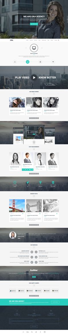 Buy ORA - One Page Creative Agency Theme by on ThemeForest. ORA – One Page Creative Agency Theme is a very clean and modern designed PSD template for multi purpose for any busin. Flat Web Design, Creative Web Design, Web Design Tips, Ux Design, Design Process, Design Thinking, Branding, Gui Interface, Interface Design