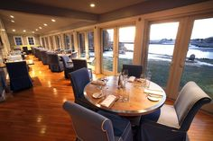 Our views of the Kennebunk River and breathtaking Local Seafood, Seafood Restaurant, Kennebunkport Maine, White Barn, Fine Dining, Table Settings, Furniture, Hospitality, Bing Images