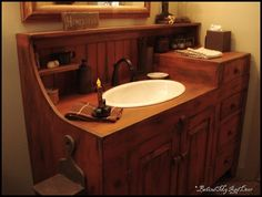 I have been looking for a new bathroom cabinet to replace the old outdated one - I am just gonna have to find someone to make this for me!!  LOVE it