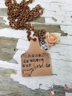 Home is where our herd is cattle necklace ear tag cow tag Cute Jewelry, Diy Jewelry, Jewelery, Jewelry Necklaces, Jewelry Design, Jewelry Making, Jewelry Accessories, Jewelry Ideas, Cowgirl Jewelry