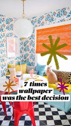 Eclectic Wallpaper, Home Wallpaper, Wallpaper Decor, Bright Decor, Colorful Decor, Dorm Bedding Sets, Home Design Diy, Happy New Home, Bright Homes