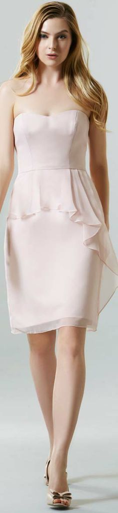 SAISON BLANCHE BRIDESMAIDS  SB2246  Simply flawless in this above the knee Chiffon dress and scoop neckline, has been beautifully accented with a modern front peplum.