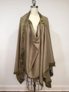 Asymmetric Olive Suede Poncho Light Weight Wrap Pluse by Olimpias
