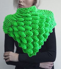 Hand Knitted Poncho Shawl crocodile Stitch by Giezen on Etsy