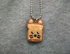 Polymer Clay Kitty Toast Necklace  Ready to be shipped by MadameMona, $7.00