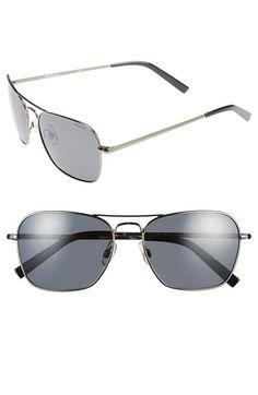 8f1f7d9ed1581 Men s Polaroid Eyewear  1010SM  57mm Polarized Navigator Sunglasses - Dark  Ruthenium  Grey Lenses