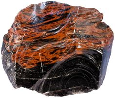 Mahogany Obsidian, beautifully formed volcanic glass with red mineral stripes.