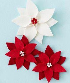 Poinsettia Felt Ornaments