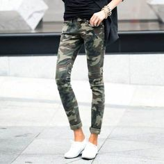 Military Skinny Pants Slim Trousers Womens Army Print Khaki Ladies Cotton Jeans | eBay