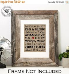 VALENTINES DAY SALE Famous Couples Print, Personalized Wedding Gift, Newlywed Gift, Custom Burlap Sign, Anniversary Gift, Gift for Couple