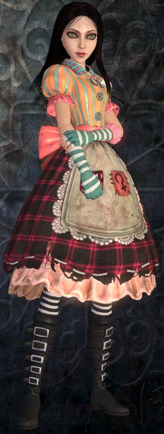 Reflects the color and vibrancy of childhood. Vertical striped bodice w/over-sized buttons, possibly to make some sort of plushie effect, as well as blue and white striped gloves. Left sleeve has tear w/stuffing poking out. Pockets have embroidered astronomical signs of Mars and Ceres (Mars represents Alice's battle, while Ceres represents both Alice's old house (where it began) and her current home (source of her trouble).