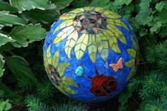 Gazing Ball Goldfinch in the Sunflowers Stained Glass Mosaic Garden Sculpture Bowling Ball Garden, Mosaic Bowling Ball, Bowling Ball Art, Mosaic Rocks, Mosaic Glass, Stained Glass, Glass Art, Garden Spheres, Garden Balls