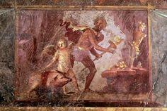 Fresco from Villa of Mysteries, Pompeii , Campania, Roman Civilization, 1st Century