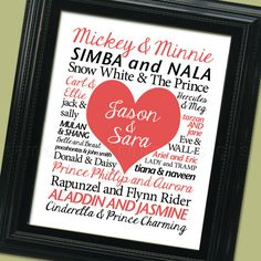 Love this idea!!! Disney couples and then husband and wifes name in the heart :)