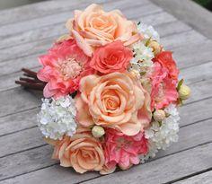 Silk Flower Wedding Bouquet Bride Bouquet by Hollysflowershoppe