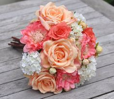 Silk Flower Wedding Bouquet Bride Bouquet by Hollysflowershoppe